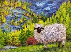 Autumn Landscape with Blacknose Sheep Acrylic Painting LIVE Tutorial Acrylic Painting Lessons, Acrylic Painting Tutorials, Painting Videos, Acrylic Art, Sheep Paintings, Paintings I Love, Antler Art, Pictures To Paint, Painting Pictures