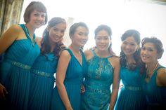 Bridesmaid dresses in aqua silk chiffon with beaded belts by Tammy Tan.
