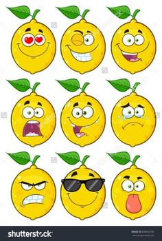 Yellow Lemon Fruit Cartoon Emoji Face Character Set Vector Collection Isolated On White Background Cartoon Cupcakes, Art And Illustration, Cartoon Illustrations, Fruit Cartoon, Cute Cartoon, Cartoon Kunst, Cartoon Art, Kreative Jobs, Fruit Shop