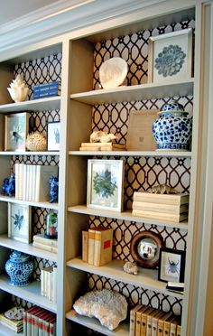 living rooms - Stroheim Cranston Lattice Fabric - Granite trellis fabric lining back custom gray painted built-ins bookcase foo dogs ginger jars Bookshelf Styling, Built In Bookcase, Bookcases, Bookshelf Decorating, Bookcase Makeover, Casa Clean, Living Room Decor, Living Rooms, Bedroom Decor