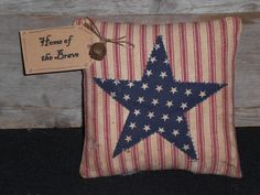 1 Primitive Patriotic Grungy Rustic USA July 4th  Star Americana - Home of the Brave - Bowl Filler - Ornie - Shelf Sitter - Mini Pillow by ChooseMoose on Etsy