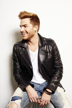 """Adam Lambert poses for a portrait in promotion of His upcoming album """"The Original High"""" on Tuesday, May 2015 in New York. (Photo by Dan Hallman/Invision/AP). Leather Men, Black Leather, Leather Tops, Leather Jackets, Adam 2009, Adam Lambert Concert, Adam Style, New York Photos, Hommes Sexy"""