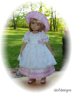 """3-Pc  Eyelet Pinafore Dress for  Effner 13"""" Little Darling DOLL  by idolldesigns #ClothingAccessories"""