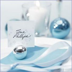 Winter wedding table number place card