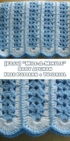 "[Easy] ""Mile-A-Minute"" Baby Afghan Free Crochet Pattern + Tutorial"