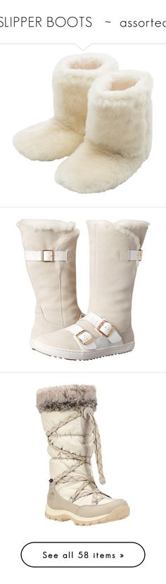 """SLIPPER BOOTS   ~  assorted"" by kuropirate on Polyvore featuring shoes, slippers, boots, pajamas, pijamas, ivory, mid-calf boots, fur boots, black boots and white boots"