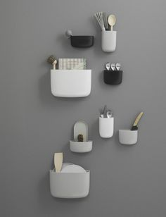 The Pocket Organizer by Normann Copenhagen lets you make the most of your wall storage space. Perfect for organizing small items in small spaces. The design is by Simon Legald, who was inspired by full shirt pockets. Design Shop, House Design, Norman Copenhagen, Copenhagen Design, Gift For Architect, Boutique Deco, Pocket Organizer, Decorative Storage, Wall Storage