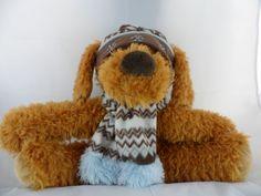 "Hug Fun Intl Inc.Winter Brown Teddy  Bear Plush Dog 14""  Hat & Scarf  EUC #HugFunInternationalInc #Christmas"