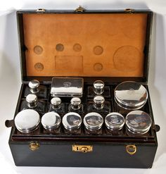 Antique French Travel Case, Bag Sterling Silver Vanity Set, 14pc This is very cool and it's in mint shape!