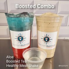 Boosted Combo: Choose 1 of Each: 1 - Aloe Shot 2 - 24 oz Energy Tea 3 - Shake Protein Healthy Lunch Smoothie, Dinner Smoothie, Pear Smoothie, Breakfast Smoothies, Breakfast Recipes, Protein Smoothies, Fruit Smoothies, Breakfast Ideas, Vanilla Shake Recipes