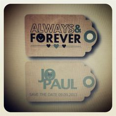 Save the date swing tags from Glorious Vintage Design