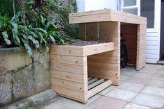 bin storage ideas for small front gardens Google Search Outside Bike Storage, Outdoor Bike Storage, Bicycle Storage, Bike Wall, Garden Sheds For Sale, Bin Shed, Range Velo, Small Front Gardens, Shed Storage