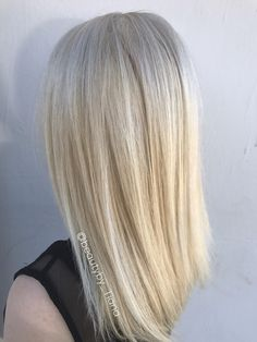 Platinum blonde hair by Tiana at Cielo salon in Medford