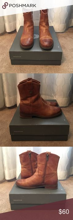 Vince Camuto Mid-Calf Boofs Vince Camuto Mid-Calf Boots in a Distressed Cognac Color! Beautiful Leather. Gold Hardware. Size 7 Great Quality. Perfect Condition! Vince Camuto Shoes Combat & Moto Boots