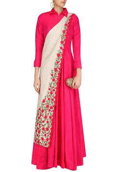 Rishi & Soujit presents Fuschia pink collared tunic with off white banarasi floral motifs sash available only at Pernia's Pop Up Shop. Mehndi, Henna, Indian Gowns, Indian Attire, Indian Wedding Outfits, Indian Outfits, Kurta Designs, Blouse Designs, Dress Designs
