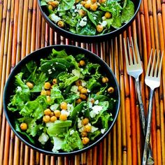 Leafy Green Salad with Roasted Chickpeas and Feta (chickpeas, olive oil, finely minced garlic, 3 c washed romaine or butter lettuce, 3 cups washed spinach, baby kale, mixed greens, or arugula, and crumbled Feta)