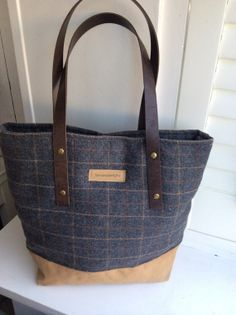 dark blue gingham wool tote bag with canvas  by BooneStaakjeS,  #bags, #shoulder bag, #canvas, #etsy
