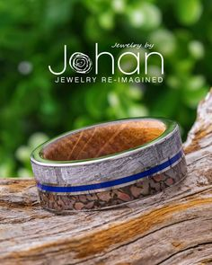 Jewelry by Johan's wedding bands for men are crafted with unique materials, like meteorite, dinosaur bone, titanium, and whiskey barrel oak wood. #JewelrybyJohan Dinosaur Bone Ring, Dinosaur Bones, Wedding Men, Wedding Bands, Meteorite Wedding Band, Gibeon Meteorite, Unique Mens Rings, Whiskey, Jewelry