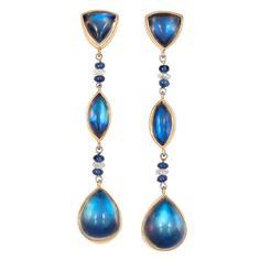 Pair of Gold, Ebony-Backed Moonstone, Diamond and Sapphire Bead Pendant-Earrings  4 faceted diamond rondels, 8 sapphire beads, 6 shield, marquise & pear-shaped moonstones, ap. 7.8 dwt.