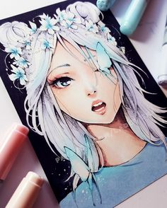 Crown by Ladowska. Girl with white hair and blue butterflies, looks so cool!