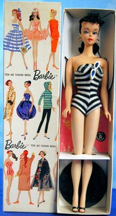 This 1959 #2 brunette ponytail Barbie sold for $ 6,495. She was sold in her original box with all of her original accessories.  My sister had this.