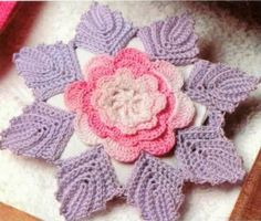 Grace y todo en Crochet:  Pretty flower with 8 leaves, can be used as doili...