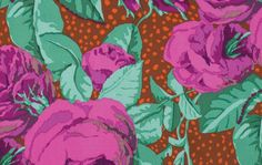 1/2 Yard Kaffe Fassett 100% Cotton Quilt Fabric - August Rose - Magenta by…
