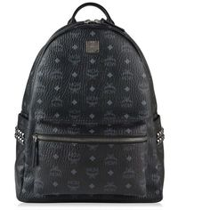 Mcm Stark Back Pack ($835) ❤ liked on Polyvore featuring bags, backpacks, black, zip bag, leather bags, leather knapsack, logo backpack and leather zip backpack