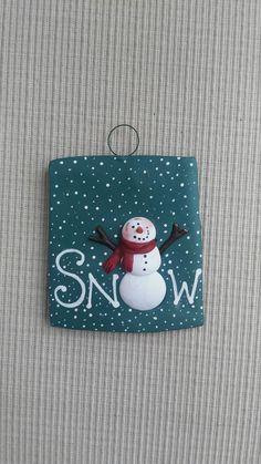 "hand sculpted polymer clay aqua ""SNOW"" snowman ornament by JessiesCornerClay on Etsy"