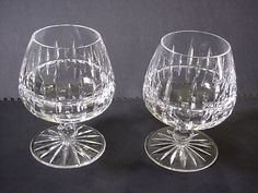 TWO Vintage Ceskci Crystal Brandy Snifters Poland RARE SIGNED Gorgeous! #CESKCI