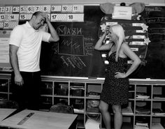 An engagement picture taken in our Grade 3 classroom. Mint Vans, Grade 3, Engagement Pictures, Classroom, Wedding, Mariage, Engagement Pics, Weddings, Engagement Photos
