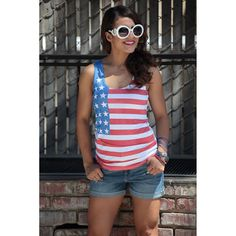 Learn how to create This stylish summer tank features the stars and stripes of the American flag. Perfect for the Fourth of July or a day at the pool. (aff link)