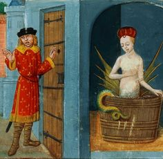 "Roman de Mélusine, en vers français, attribué à Couldrette. (15th century) ""The fairy Melusin bore the count many children, and erected for him a magnificent castle by her magical art. Their harmony was uninterrupted until he broke the conditions of their union, by concealing himself to behold his wife make use of her enchanted bath. Hardly had Melusina discovered him, than, transforming herself into a dragon, she departed with a yell of lamentation, and was never again visible to mortal…"