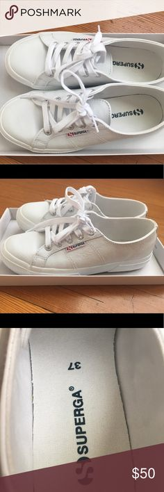 Superga leather tennis shoes Superga upper leather tennis shoes, never worn in great condition:) Superga Shoes Sneakers