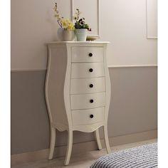 Sinfonier 5 cajones blanco Vintage Paris   Material: Madera Tropical   Esta coleccion esta inspirada en el mueble clasico frances Louis XV. En su proceso de acabado artesanal, y con la finalidad de asemejar el transcurso del tiempo, se utiliza la tecnica del