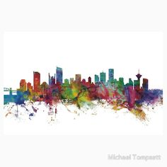 Trademark Fine Art Michael Tompsett Vancouver Canada Skyline by Michael Tompsett Graphic Art on Wrapped Canvas Giclee Canvas Art, Color: Multi - JCPenney Metal Wall Art, Framed Wall Art, Canvas Wall Art, Wall Art Prints, Canvas Prints, Wall Mural, Wall Decor, Seattle Washington, Washington State
