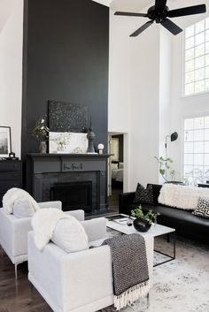 Before And After: A Dated Georgia House Gets The Scandi Treatment! : my scandinavian home: Before And After: A Dated Georgia House Gets The Scandi Treatment! Black and white living room with dramatic fireplace. Black And White Living Room Decor, White Home Decor, Living Room Grey, Living Room Modern, Home And Living, Living Room Designs, Nordic Living, Black And White Interior, Scandi Living Room