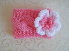 Baby Crochet Headband with Flowers Baby Headband by effybags