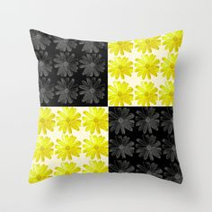 Colorblocked Flowers (Black and Yellow) Throw Pillow 20% off today