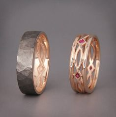 14k Black and Rose Gold Eternity Wedding Rings set with Ruby
