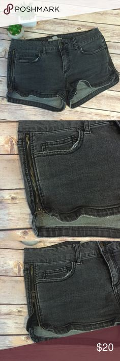 Zippered Shorts denim rocker chick Excellent condition. They are a grayish black (kinda like faded...factory faded). It's a grunge rocker chick look. Zipper on the side can be zipped all the way up or down. Great detail! Forever 21 Shorts Jean Shorts