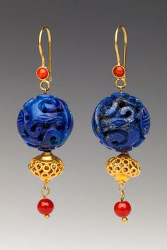 the silk road collection ::A delicate Mediterranean red coral bead drops from Chinese-carved lapis lazuli beads with 18K gold accents. 18K & coral wires.