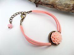 Soft Pink Flower Bracelet, Suede Wrap Bracelet, Floral Jewelry, Pastel Dahlia Bracelets, Vegan Leather Jewelry, Romantic Bracelets for Girls