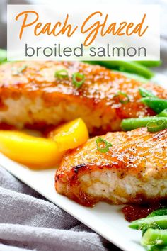 Sweeten up date night dinner with this luscious Bourbon Peach Glazed Salmon that will nourish your heart and soul This broiled salmon recipe takes only 15 minutes to make healthyrecipes salmon Salmon Recipes, Fish Recipes, Seafood Recipes, Healthy Recipes, Salmon Peach Recipe, Seafood Dishes, Night Dinner Recipes, Date Night Dinners, Steak