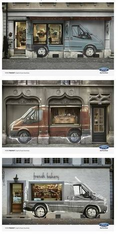"""ford transit mural wall graphic, """"a part of your business"""" Guerilla Marketing, Street Marketing, Retail Windows, Store Windows, Hall Design, Facade Design, Ford Transit, Creative Shop, Store Window Displays"""