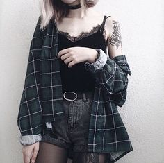 Outfit, dark, grunge, black, green, grey, blonde, tank top, belt, denim, shorts, flannel, long sleeve, rolled cuffs, tights, choker, short hair