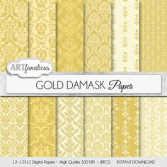 Damask digital papers GOLD DAMASK elegant gold and by Artfanaticus