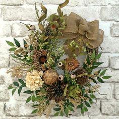 Neutral Summer Wreath, Front Door Wreath, Summer Outdoor Wreath, Woodsy Burlap Wreath, Silk Floral Wreath,Grapevine Wreath, Fall Wreath