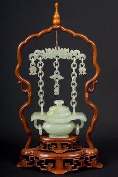 China 20. Jh. A Chinese Jadeite / Jade Hanging Censer - Giada Cinese Chinois