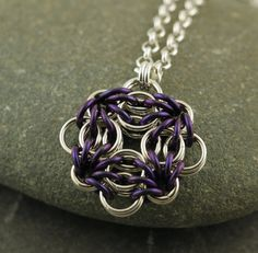 Sterling silver and anodized niobium pendant, for wanderers - Compass Rosette via silverfalls.com at Etsy